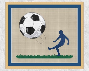 Football cross stitch pattern, sport cross stitch chart, footballer, soccer, football player, modern, boy, girl, man, PDF - instant download