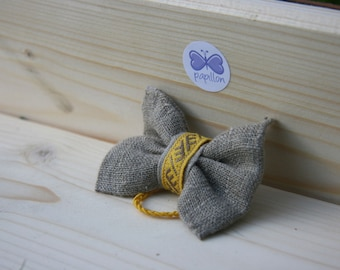 Linen Hair bow with Latvian traditional symbols