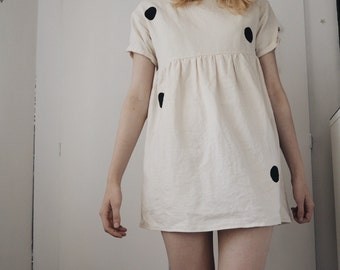 Cream Linen Spotty Minimalist Shift Dress PETITE 8