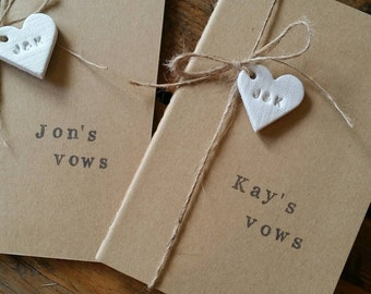 Set of 2 Wedding Vows Notebooks ~ His & Hers Vows ~ Personalized Notebooks ~ Clay Heart Tag