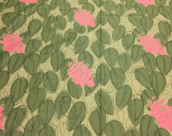 Green Upholstery Fabric. 1/2 yd. Patio Fabric. Tropical Floral Upholstery Fabric. Pink Floral Fabric. Vintage Leaf Fabric.