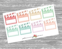 Pastel Movie Time Stickers || 8 Planner Stickers