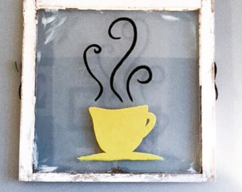 Vintage Window Coffee Mug Wall Art- Old window, coffee, refurbished, wall decor, kitchen, handpainted, espresso, sign