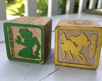 vintage Disney wooden blocks (2), Snow White and Bambi, alphabet blocks, 1950s