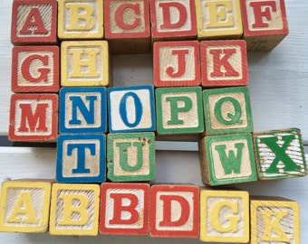 vintage wooden alphabet blocks, building blocks, baby blocks, collectible, set of 25