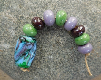 Lampwork Bead Set Including One Tab Bead and Eight Spacer Beads