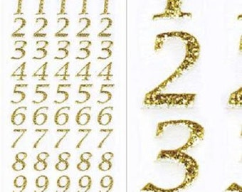 15mm Tall Gold Glitter Stylised Number Craft Stickers for Card Making, Embellishments, Scrap Booking, Gift Tags, Craft Projects