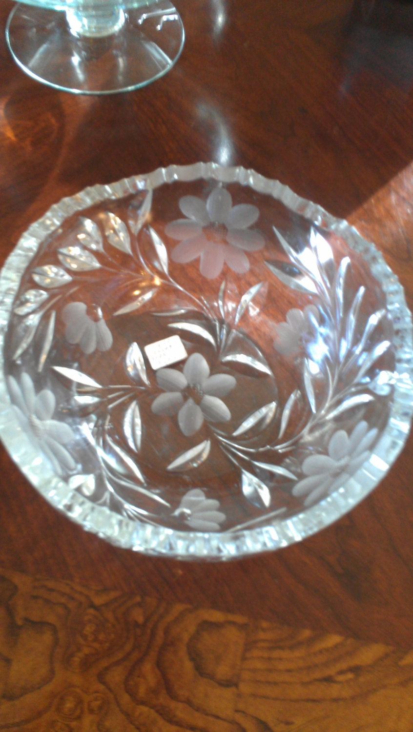 Collectible Vintage Pressed Glass Bowl with etched Floral ...