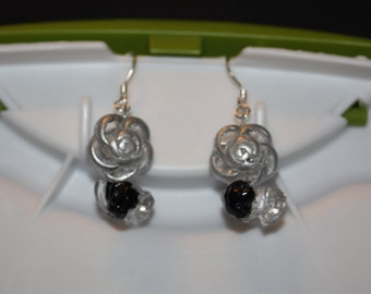 Grey Rose Earrings