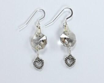 Sterling Silver, Swarovski Crystal & Pewter Earrings, Heart and Crystal Earrings