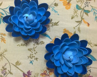 Pistachio Shell Flower Magnets - Set of Two - Blue