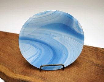 "8"" Round Blue Swirl Fused Glass Plate"