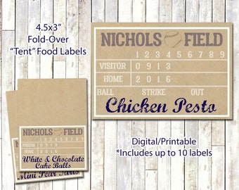 BASEBALL FOOD LABELS | Fold-over Tent Lables | Baseball Theme Party