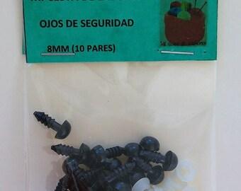 8mm Ojos de seguridad (10 pares) - BLACK safety eyes 10 pairs, 8mm - Amigurumi eyes- Eyes for toys- Safety nose- yeux de sécurité -