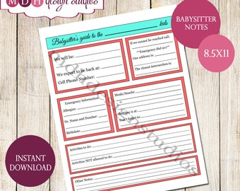 Babysitter Checklist - Babysitter Notes - Family Organization - Babysitter Printable - Digital Download