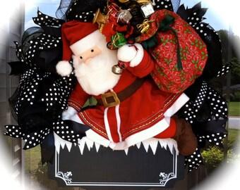 Whimsical Talking Santa Claus Christmas Wreath, Christmas Wreath, Holiday Wreath, Santa Wreath