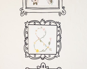 Picture frame, Instagram picture frame, doodle wall decal, baroque picture frame