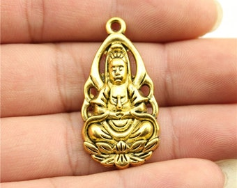 3 Buddha Charms, Antique Gold Tone Charms (1D-194)