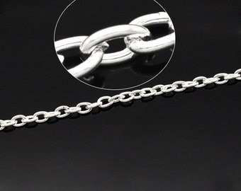 32 Feet Silver Plated Cable Chain 4 x 3mm (1T-62)