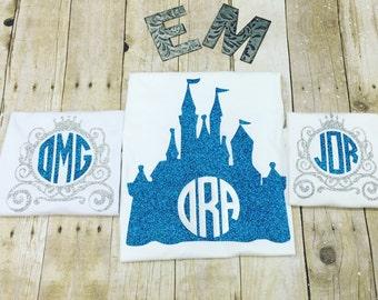 Disney Castle or Carriage heat press monogrammed shirt