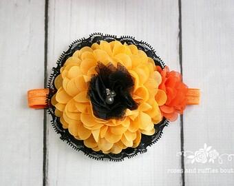 Halloween Headband, Baby Girl Headband, Newborn Headband, Orange Flower Headband, Baby Photo Props, Infant Headband, Toddler Headband