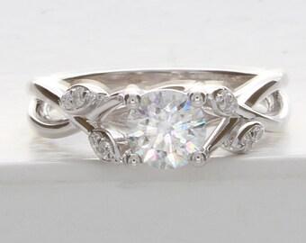 Flower Engagement Ring, Unique Lotus Engagement Ring, Moissanite Engagement Ring, Lotus Flower Diamond Ring, Flower Petal Engagement RIng