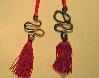 2 solid copper tassel hanging decorations