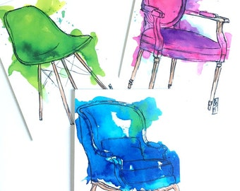 Drippy Chairs Postcard Set