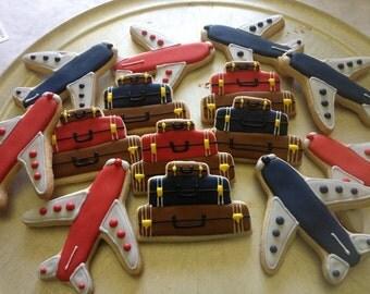 Decorated Sugar Cookies Airplane Suitcase