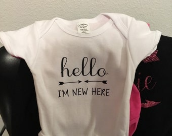 Personalized onesie, custom onesie, hello i'm new here