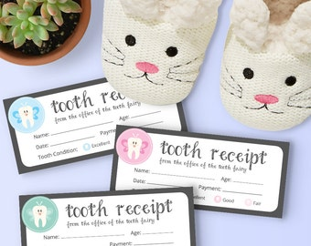 Tooth Fairy Receipt - Green, Pink and Blue Theme - Instant Printable Download