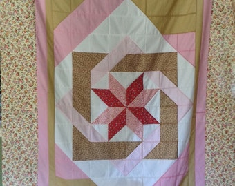 Unfinished Quilt, Twin Quilt Top, Star Quilt, Geometric, Design Quilt, Patchwork Quilt, Super Twin Quilt Top, Girl Blanket