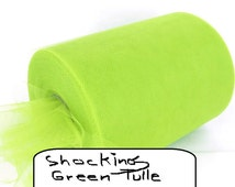 """Shocking Fluorescent Green Tulle 6"""" Width -25 Yards-4 DIY-Costumes, Tutus, Decor, Party, Mardis Gras, Christmas"""