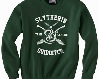 CAPTAIN - Slyth Quidditch team Captain WHITE print on Forest green color Crew neck Sweatshirt
