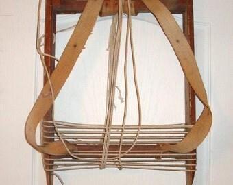 Antique primitive wood frame backpack