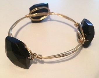 Gold Bangle with Black Onyx Stones