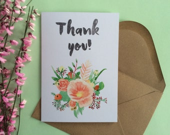 Thank You Card - Floral card - Flowers - Thanksgiving - Wedding cards