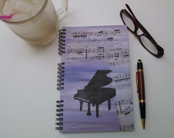 Hand Painted Spiral Journal; Collage Art on Wire Bound Blank Notebook; Writing Journal; Small Sketchbook; Grand Piano