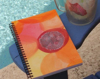 Hand Painted Spiral Journal; FREE SHIPPING; Collage Art on Wire Bound Blank Notebook; Writing Sketching; One of a Kind Diary; Sand Dollar