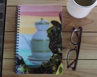 Hand Painted Spiral Journal; FREE SHIPPING; Collage Art on Wire Bound Blank Notebook; Writing Journal; Small Sketchbook