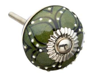 Dark Green with Raised White dots Dresser, Drawer, Door or Cabinet Knob Pull - M253