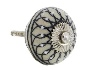 Black Leaf Decorative Ceramic Dresser Drawer, Cabinet or Door Pull Knob - i727-S