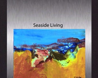 Seaside Living - Original Acrylic Abstract. Modern Colourful Hand Painted Painting  not a print.