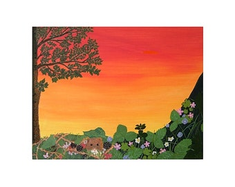 Sunset Behind a Devon Hedgerow (mounted and framed print)