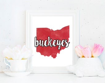 Ohio State Buckeyes Watercolor State Printable (8x10)