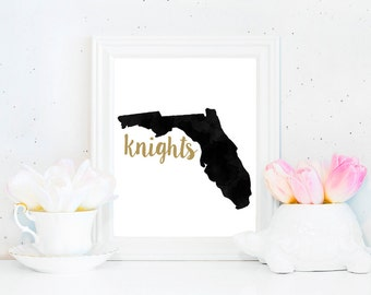 UCF Knights Watercolor State Printable (8x10)