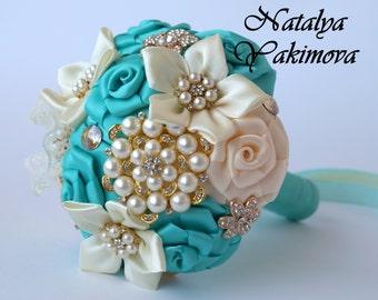 Bridesmaid's bouquet, Wedding Toss bouquet, mint ivory, mini bouquet, Unique Wedding Bridal Bouquet, Wedding Accessories, Wedding set