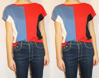 70s Vintage Red White Blue Colorblock Tee