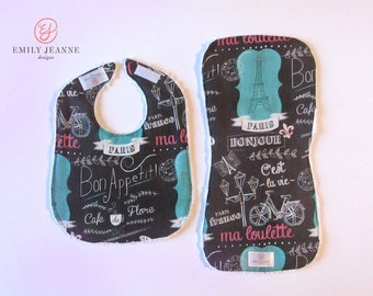 Bib/Burp Cloth Set for baby - set of 1 Chenille-Backed Bib and 1 Contoured Burp Cloth - Paris Collection