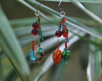 Earrings made with colorful glass beads